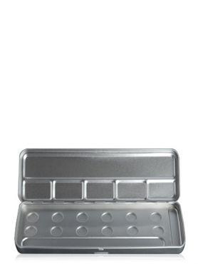 Make-Up Atelier Paris Palette Mеtal Vide M6C 12 Holes Metal Box Пенал-палитра металлическая для акварели на 12 позиций
